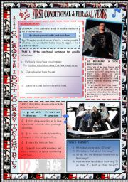 English Worksheets: FOCUS ON �FIRST CONDITIONAL� & �PHRASAL VERBS�. GRAMMAR+ LISTENING + SPEAKING  THROUGH U2 SONG + KEY INCLUDED + NOTES FOR TEACHER.