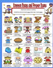 English Worksheet: Common and Proper Nouns Part 2