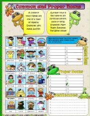 English Worksheet: Common and Proper Nouns Part 1