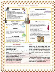 English Worksheet: Talking about vacations