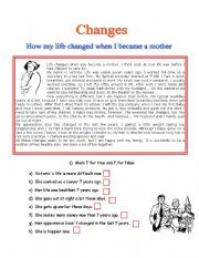 English Worksheets: How my life changed when I became a mother