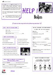 English Worksheets: HELP ! The Beatles