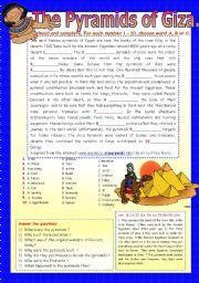 English Worksheets: THE PYRAMIDS OF GIZA.