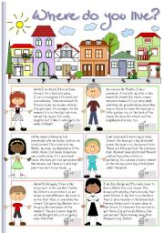 English worksheet: Where do you live?