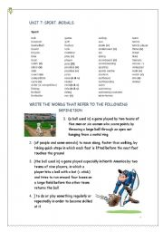 English Worksheet: UNIT 7 (A2) SPORTS