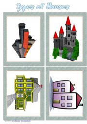 English Worksheet: Types of Houses Flashcards Set 1 # 8 cards # list if houses