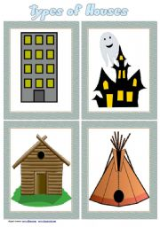 English Worksheet: Types of Houses Flashcards set 2 # 9 cards # list of houses # fully editable