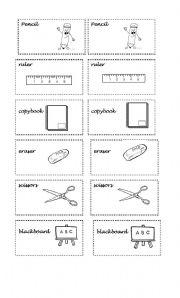 English Worksheets: memory game  school materials
