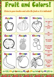 English Worksheet: Fruit and color