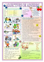 English Worksheet: adjectives or adverbs + key