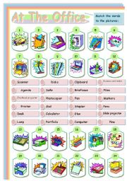 English Worksheet: At the office (matching exercise)