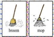 English Worksheet: cleaning tools flash cards