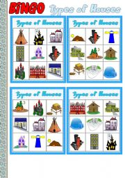 Types of Houses Part 4 # BINGO Game # 10 cards # Instructions # Fully editable