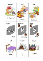 English Worksheet: Preposition Uno Card Game - Animals and Positions - Set 4 of 4