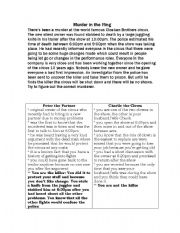 English Worksheets: Murder Mystery