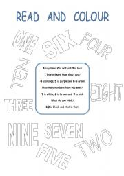 English Worksheet: READ THE POEM  AND COLOUR THE NUMBERS