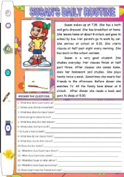 English Worksheets: SUSAN�S DAILY ROUTINE (READING AND COMPREHENSION)