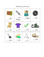 English Worksheets: digraph ch, sh, wh, th