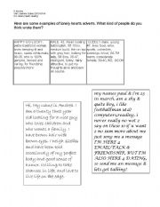 English Worksheets: Lonely Hearts