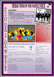 English Worksheet: MODAL VERBS IN THE PASSIVE VOICE & SPEAKING & ROLE-PLAY THROUGH THE BEATLES�S SONG + KEY INCLUDED.
