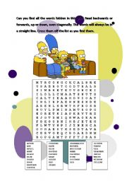 English Worksheets: The Simspon�s hidden words
