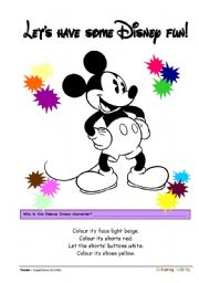 English Worksheet: Coloring Printables ::: Mickey Mouse