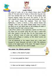 English Worksheets: lundy island