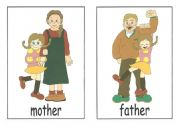 English Worksheet: family members flash cards