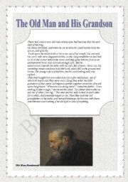 English Worksheets: THE OLD MAN AND HIS GRANSDON (reading comprehension)
