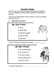 English Worksheet: Acrostic Poems ESL