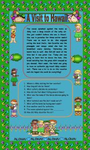 English Worksheets: Comprehension - A Visit to Hawaii