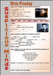 English Worksheet: Song Worksheet - Suspicious Minds by Elvis Presley