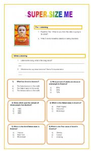 English Worksheets: Listening Comprehension / Super size me film