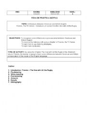 English Worksheet: Learning English with Friends the TV series - Ross and the Rugby scene