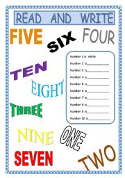 English worksheet: Numbers and colours