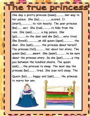 English worksheet: THE TRUE PRINCESS/PAST TENSE