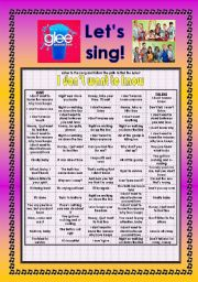 English Worksheet: > Glee Series: Season 2! > Songs For Class! S02E19 *.* Three Songs *.* Fully Editable With Key! *.* Part 2/2