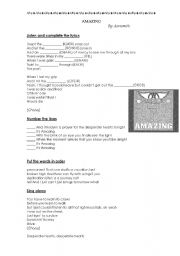 English Worksheet: Amazing - Aerosmith