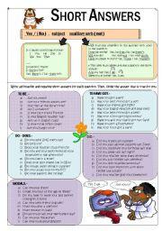 English Worksheet: NICE SHORT ANSWERS EXPLANATION & PRACTICE WS +BW + KEY (fully editable)