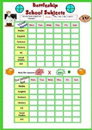 English Worksheet: School Subjects Part 2 Battleship Game # Fully editable