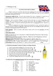 English worksheet: planning a trip to London