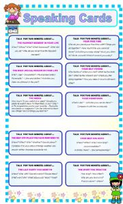 English Worksheet: SPEAKING CARDS - VARIED TOPICS - FULLY EDITABLE