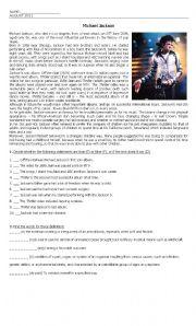 English Worksheets: Writen test based on Michael Jackson
