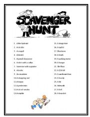 English Worksheet: Vocabulary Scavenger Hunt