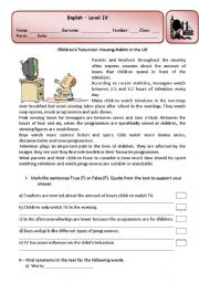 English Worksheet: Test about children�s television viewing habits
