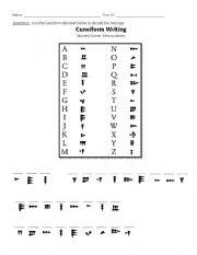 English Worksheet: Mesopotamia- Cuneiform Decoding