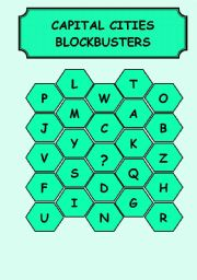 English Worksheet: CAPITAL CITIES - BLOCBUSTERS