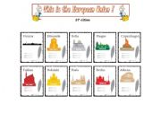 English Worksheet: This is the European Union - 27 Capital Cities - cards (part 1 )