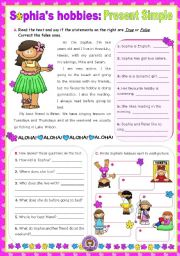 English Worksheets: Sophia�s hobbies  -  Reading + Writing