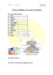 English Worksheets: volcano building